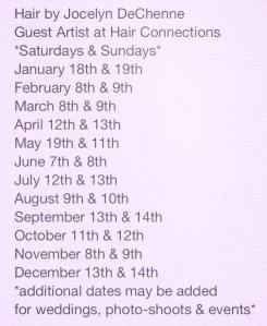 Hair Connection dates